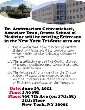 Dr Andemariam Gebremichael Breifing in New York