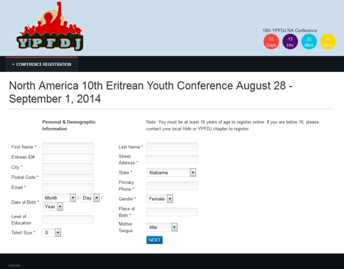 10th Annual Registration, YPFDJ North America