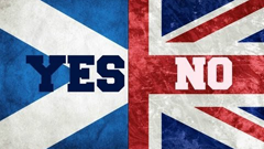 Independent Scotland and United Kingdom flags