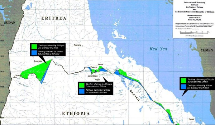 Eritrea-Ethiopia Border, EEBC Ruling Map