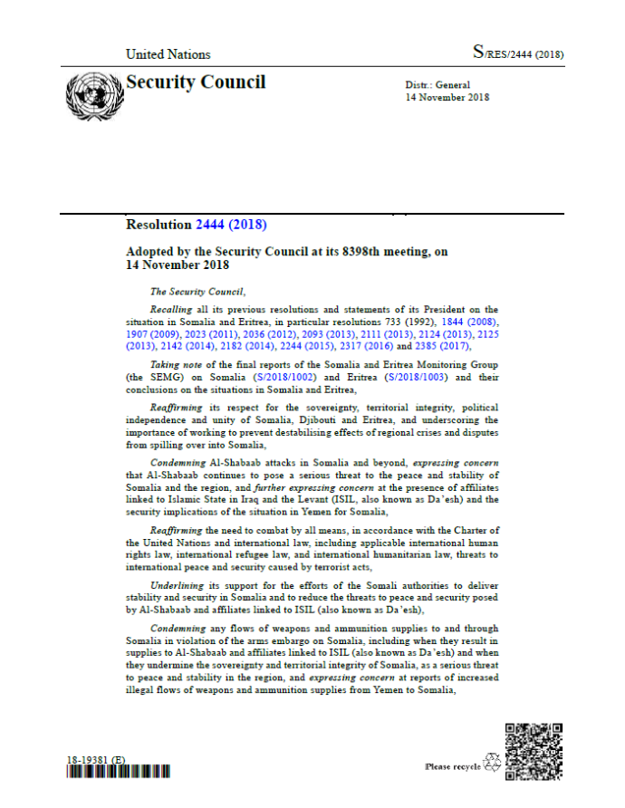 UN Resolution 2444 [Eritrea Sanctions Relief]